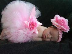 Pink Tutu - Baby Tutu - Pink Baby Tutu - Custom Sewn 6'' Infant Toddler Tutu and Headband Set - Lovey Dovey - newborn to 24 months by TutuTiara on Etsy