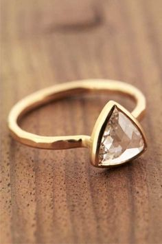 Faceted Triangular Diamond Ring - 18K Gold