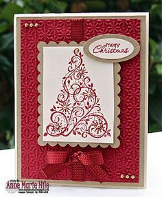 handmade Christmas card ... red and white with kraft matting ... flourish Christmas tree ... like the  ribbon and bow treatment ...  like it!!