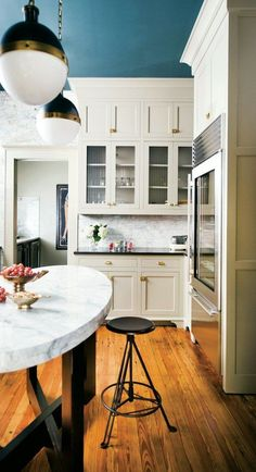 miss atlanta homes white kitchen with a wonderful blue ceiling