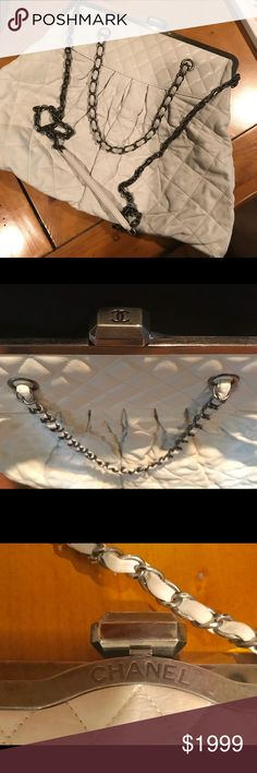 Authentic Chanel White Limited Edition Bag in EUC! This beauty is off to the spa for cleaning. Leather shows mild dirt, no worn spots or damage. Stunning roomy Crossbody. Gun metal ruthium color hardware. CHANEL Bags