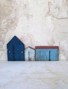 Wooden houses set houses miniature houses home by VesnaGusmanArt