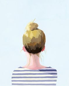 """Hair art"" by Elizabeth Mayville, gouache painting of a woman with a top knot. Art And Illustration, Hair Art, Painting & Drawing, Gouache Painting, Art Drawings, Art Photography, Street Art, Sketches, Art Prints"
