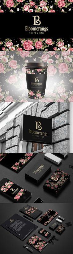 Bloomerangs Coffee Bar Logo and Branding System