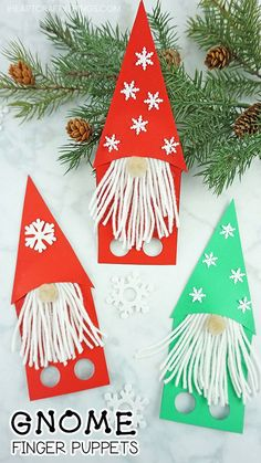 Use our free template to make these adorable gnome craft finger puppets. Fun Christmas gnome craft, garden gnome craft and winter kids craft. #gnomes #christmascraftsforkids #christmascrafts #christmascraftsdiy #fingerpuppetsideas #fingerpuppets #iheartcraftythings #papercrafts #papercrafting #papercraftsforkids #wintercraftsforkids