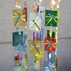Beaded Wind Chimes Ideas - Dragonfly Wind Chimes, Stained Glass, Owl Fused Glass, Handmade, Multi-Color www. Glass Wall Art, Fused Glass Art, Stained Glass Art, Mosaic Glass, Glass Fusing Projects, Stained Glass Projects, Mobiles, Glass Fusion Ideas, Glass Wind Chimes