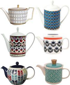 Retro print teapots