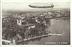 Zeppelin over Friedrichshafen. 1938 Photo with red Strike.