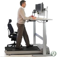 While a standing desk will allow you to either stand or sit, the treadmill desk gives you yet another option, allowing you to sit, stand, or walk in place while you're working.
