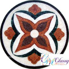 MD026 Marble Mosaic Medallion Mosaic Ideas, Mosaic Patterns, Marble Mosaic, Circles, Folk Art, Coloring Books, Stained Glass, Tables, Ceramics