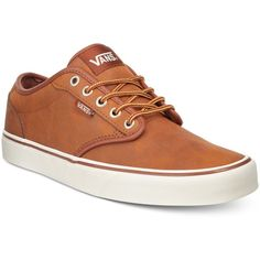 Vans Men's Leather Atwood Sneakers ($60) ❤ liked on Polyvore featuring men's fashion, men's shoes, men's sneakers, tan, mens sneakers, mens tan shoes, mens leather shoes, mens tan leather shoes and mens shoes