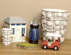 Li Polyresin Bath Accessories Have All The Elements A Golfer Would Love Golf Theme Bathroom Goos Are Perfect For Weekend