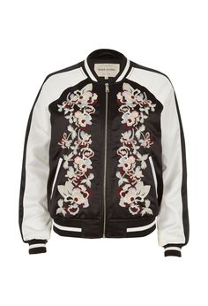 Checkout this Black embroidered bomber jacket from River Island