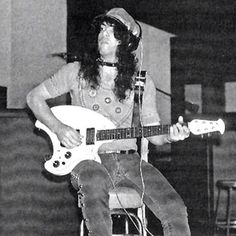 Paul Stanley recording 1st KISS album using Ace Frehley's Ovation guitar at Bell Sound Studios, New York City (1973)