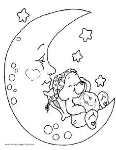 Bedtime Bear is sleeping on the moon in this cute Care Bear coloring page. Care Bear coloring page - Coloring pages for kids - Cartoon characters coloring pages. Bear Coloring Pages, Cartoon Coloring Pages, Disney Coloring Pages, Free Printable Coloring Pages, Adult Coloring Pages, Coloring Pages For Kids, Coloring Sheets, Coloring Books, Free Coloring