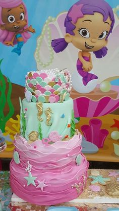 What an incredible cake at a Bubble Guppies birthday party! See more party ideas at CatchMyParty.com!