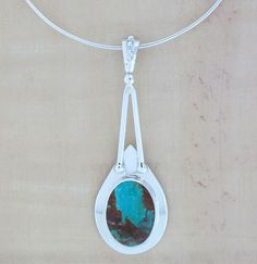 Kingman Turquoise 925 Sterling Silver Necklace Pendant Jewelry Handmade USA