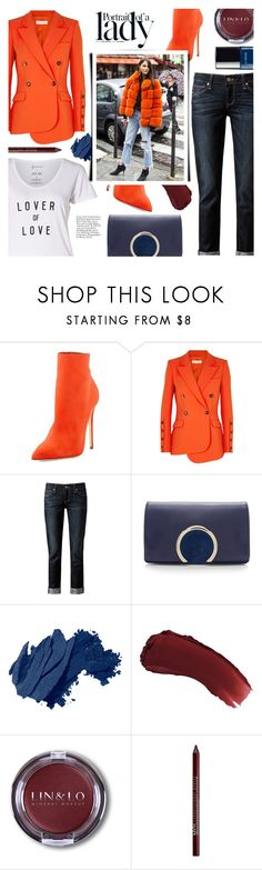 """Altuzarra Wall Orange Double-breasted Blazer"" by colierollers ❤ liked on Polyvore featuring Altuzarra, Paige Denim, Chloé, Inez & Vinoodh, Bobbi Brown Cosmetics, lilah b., Charlotte Russe and Chanel"