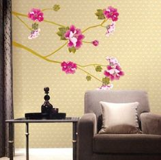 New Design Branch of Tree Flowers Wall Decal Removable Wall Decor Sticker