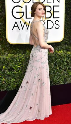 Emma Stone in Valentino Haute Couture at the 2017 Golden Globes