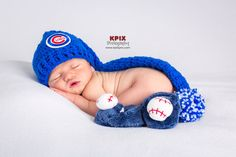 Chicago Cubs Baseball Hat for newborn baby boy by PhotoPropsnMore