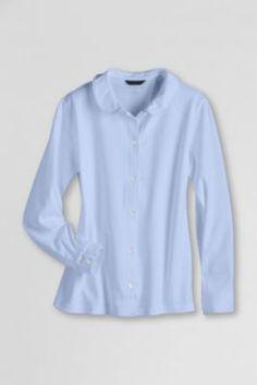 fc2161cce79 School Uniform Long Sleeve Button Front Peter Pan. Find GirlsLands EndPeter  ...