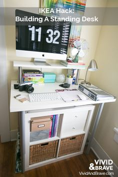 IKEA Hack - Building a Standing Desk - Expedit Shelf - all for a total of under $200!