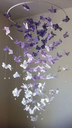 Monarch Butterfly Chandelier  Mobile - purple version II. $55.00, via Etsy.