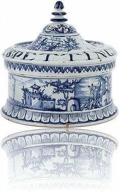 Delft Blue Tobacco Box - Antique Ceramics & Delft Blue (Dutch Delftware)