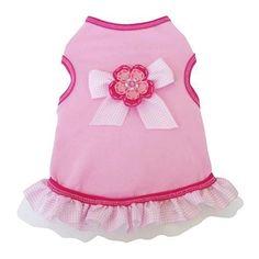 Gingham Ribbon Dog Dress - Light Pink