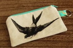 Sparrow Coin Purse  Natural Canvas  Small by AmandaJeanCreations, $8.00