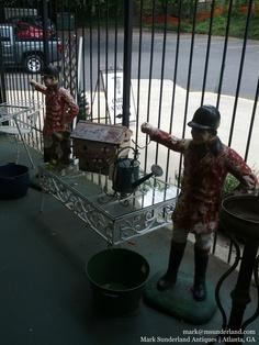 Pair of cast iron jockey lantern holders. Kentucky. Were: $2500/ pair. NOW: $1100/ pair
