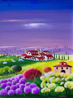 The world of Mary Antony: The naive art of Zeno (Emilio Giunchi) Landscape Art, Landscape Paintings, Images D'art, Art Populaire, Italian Artist, Naive Art, Art Pictures, Watercolor Art, Folk Art