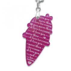 I Love Ice-cream Mirror Charm Necklace