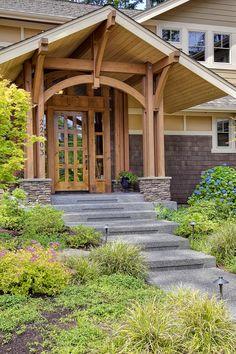 Gorgeous craftsman style home! Hopefully someday Gorgeous craftsman style home! Craftsman Exterior, Craftsman Style Homes, Craftsman Bungalows, Craftsman Columns, Craftsman Porch, House Front, Front Porch, Front Entrances, Architecture Details