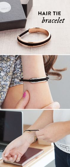Lightweight anodized aluminum hair tie bracelet that cleverly holds—and disguises—hair elastics and keeps your wrist indent-free. The Artisan design features hammered edges made from weightless, matte-finished aluminum. Things To Buy, Girly Things, Things I Want, Stuff To Buy, Looks Style, Looks Cool, My Style, Jewelry Box, Jewelery