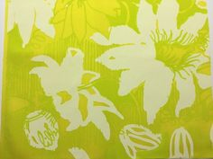 Authentic 1960.'s-1970's Passion Flower by Zuzek Lilly Pulitzer Key West Hand Print Fabrics, Inc. pre-cut fabric squares yellow green floral by LuLuBunnyHome on Etsy