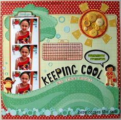 Cool Colorful Kid's Page..with yellow buttons and wavy paper trim.