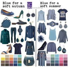 Blauw voor het gedempte zomertype en het gedempte herfsttype.
