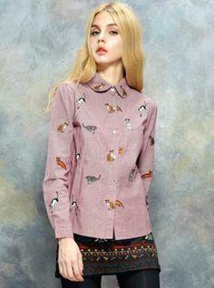 2014 New Style Fashin Cute Kitty Plaid Shirt ($39, original price is  $46.8) http://udobuy.com/goods-13544.html#.Ur51mdLEeeo