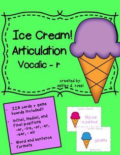 Articulation: Vocalic R ice cream theme! $