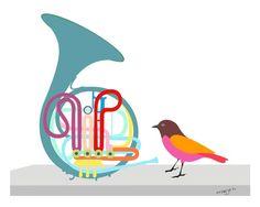 Music art print - 'French Horn' - musical instrument, illustration, bird art by PregyaK Musik Illustration, Bird Wall Art, French Horn, Music Images, Classical Music, Nursery Art, Wall Art Prints, Artwork, Music Corner