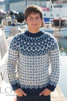 - Icelandic Vetur (Winter) Mens Wool Sweater Blue - Tailor Made - Nordic Store Icelandic Wool Sweaters - 1 Love Knitting, Knitting Kits, Knitting Designs, Blue Sweaters, Wool Sweaters, Icelandic Sweaters, Knitwear, Men Sweater, Couture