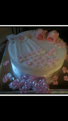 One of my favorites ❤️ baby shower cake with fondant dress and shoes