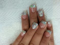 Acrylic nails with silver sparkle gel polish