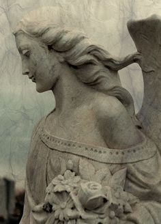Gothic Stone Angel, fine art, stone art photograph, Angel hair, Gothic Decor