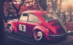 Classic Volkswagen red Beetle