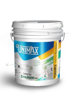 Unimax exterior emulsion Bucket Label design by Brandz UAE Bad Room Ideas, Rum Bottle, Graphic Design Brochure, Paint Buckets, Painted Boxes, Iron Decor, Painted Floors, Packaging Design Inspiration, Box Packaging