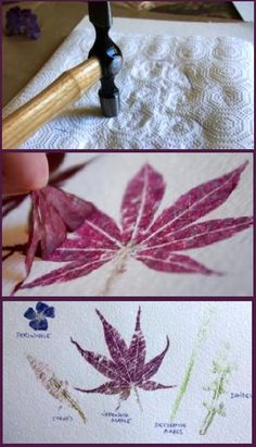 hammered leaves printing
