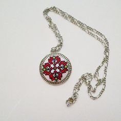 Embroidered necklaceEmbroidered pendant Red by KoserowaHandMade Folk Embroidery, Embroidery Jewelry, Embroidery Patterns, Round Pendant, Ethnic Jewelry, Valentine Day Gifts, Anniversary Gifts, Cross Stitch Patterns, Handmade Jewelry